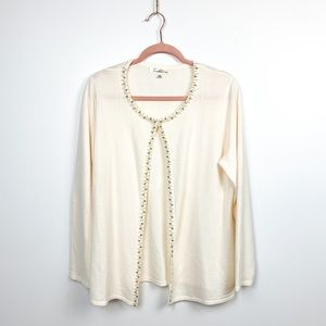 Soft White Cardigan w/ Rhinestone & Pearl Beading